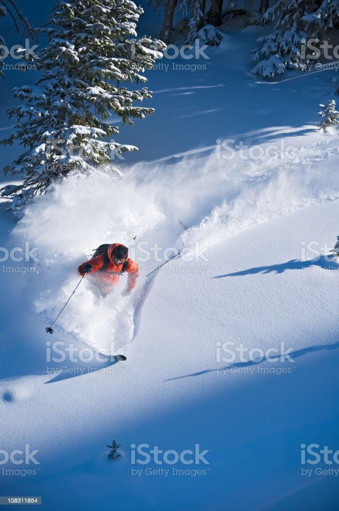 Backcountry Powder Skier Skis Steep Terrain stock photo