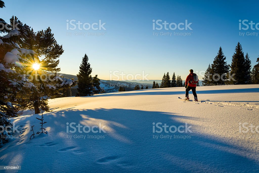 Backcountry Skier in Winter Mountains stock photo