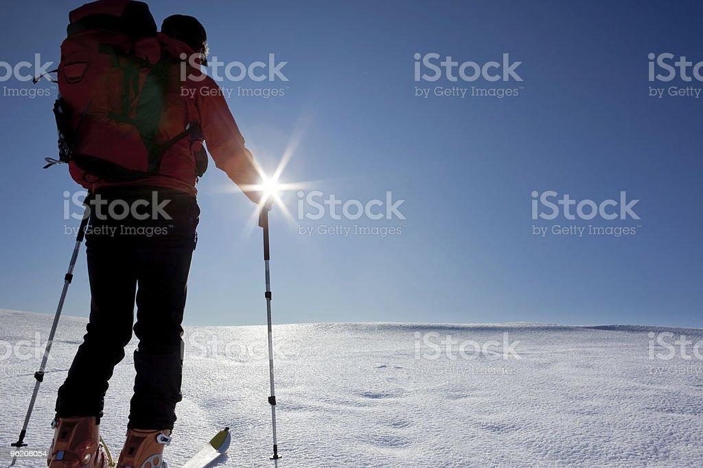 backcountry skier (ski touring) royalty-free stock photo