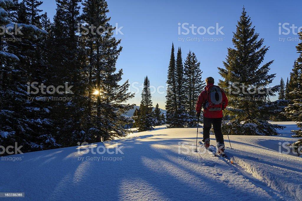 Backcountry Skier Ski Touring High in Mountains royalty-free stock photo
