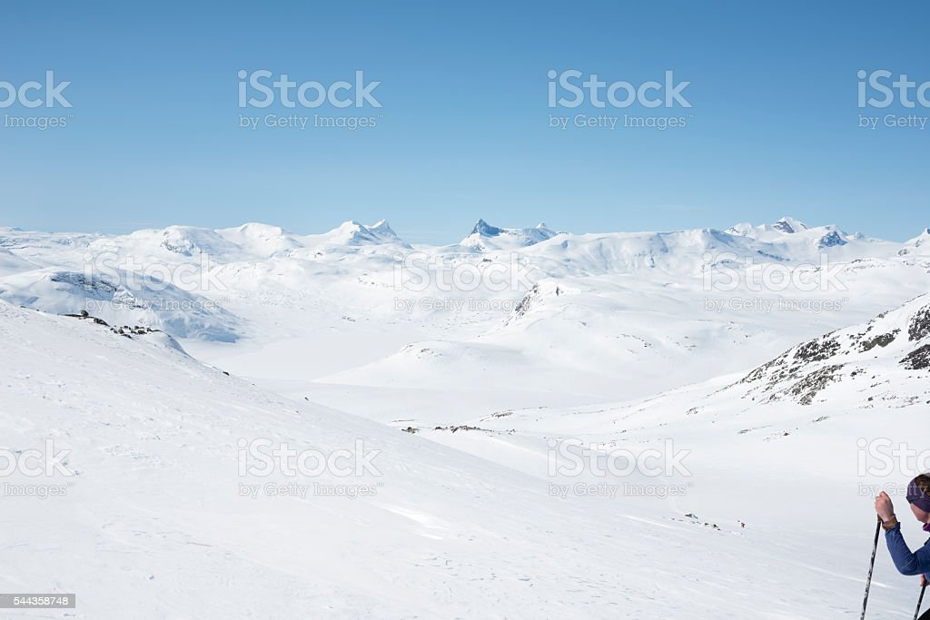 Backcountry skiing at an altitude of 6000 feet stock photo