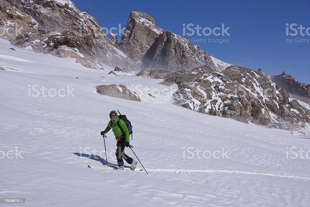 Backcountry Skiing in Wyoming stock photo