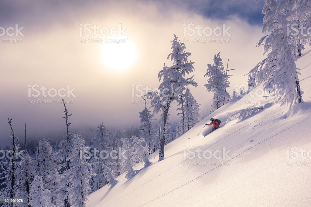 backcountry skiing stock photo