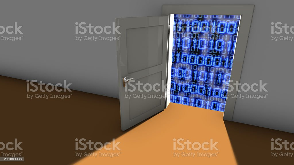 Backdoor in a wall stock photo