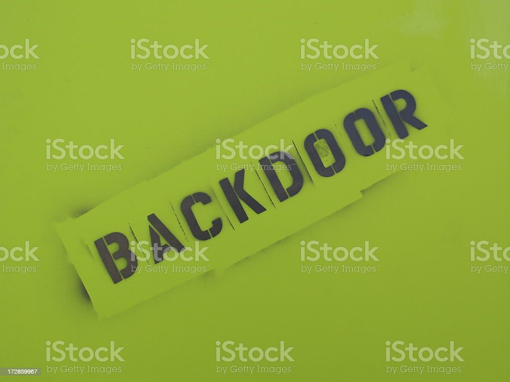 Backdoor Sign royalty-free stock photo