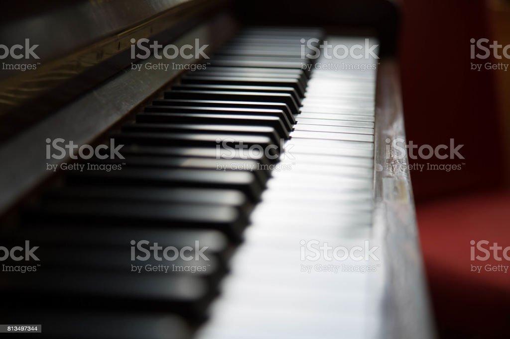 Backdrop piano close up no people stock photo