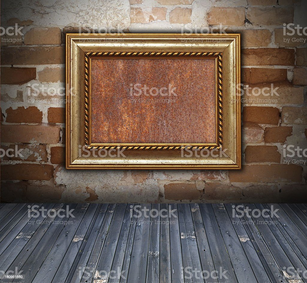 backdrop with wooden frame on wall royalty-free stock photo