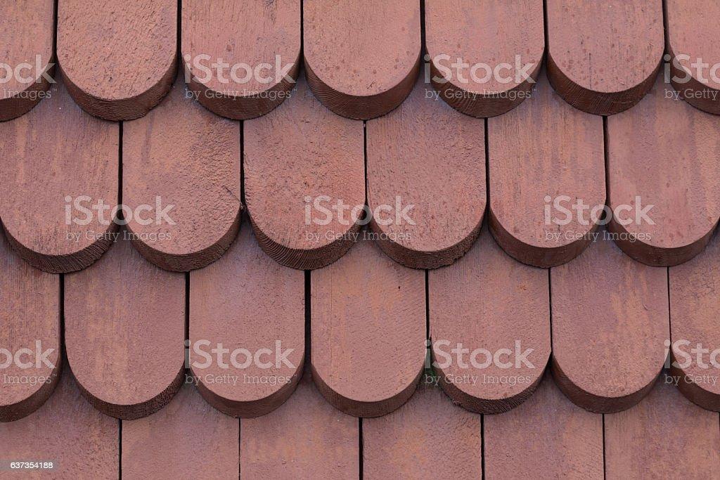 Backgound wooden tiles Scandinavian roof stock photo
