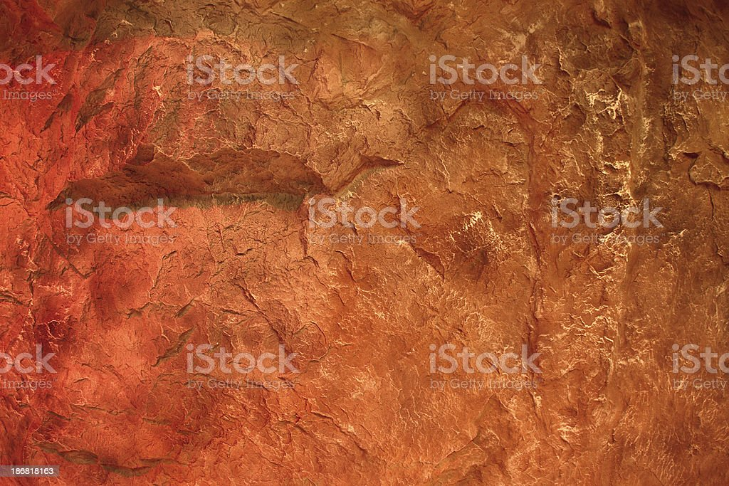 Background: artificial red rocky cavern stock photo