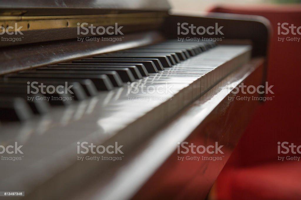 Background beautiful piano keyboard shallow depth of field stock photo