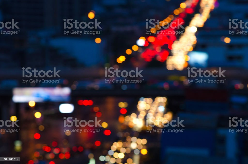 Background blur bokeh in the streets stock photo