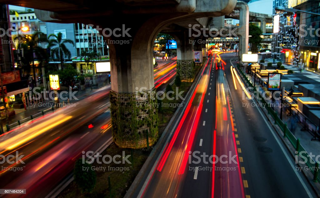 Background blur Power line of car lights at night. stock photo