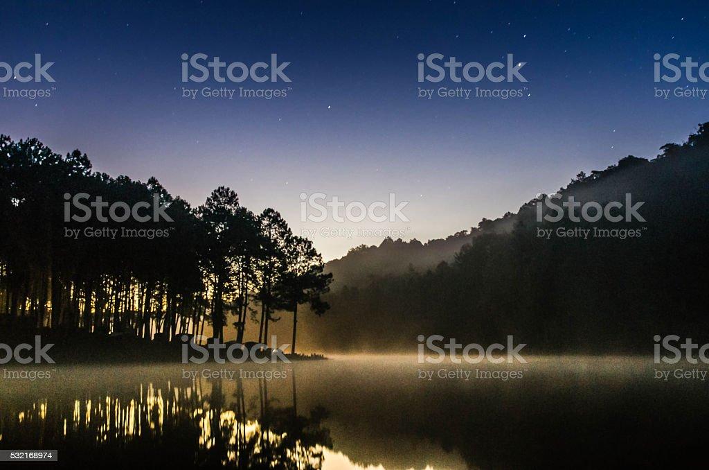 Background blur Starlight Mountain at night. stock photo