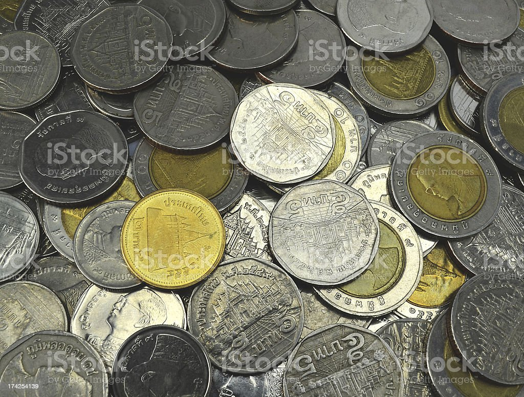background close up of coins from Thailand royalty-free stock photo