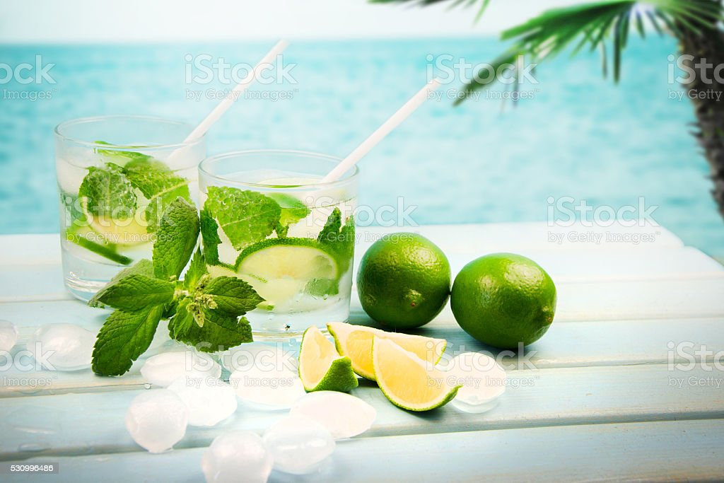 Background cocktail drink at the beach. stock photo