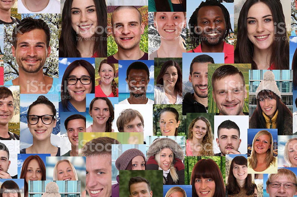 Background collage group of multiracial young smiling people stock photo