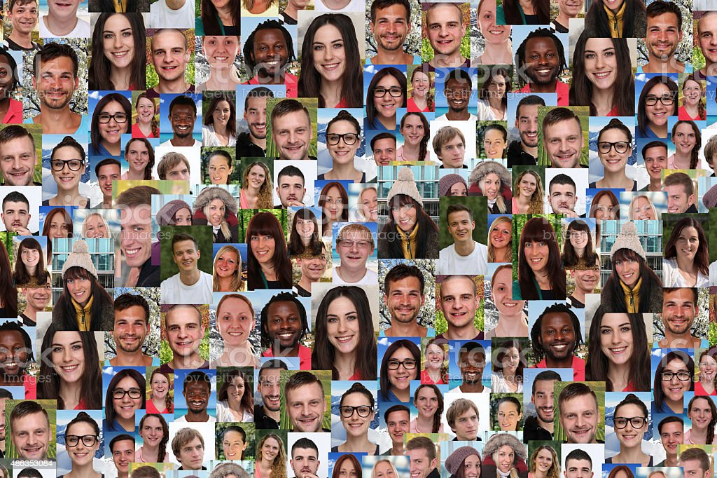 Background collage large group of multiracial young smiling people stock photo