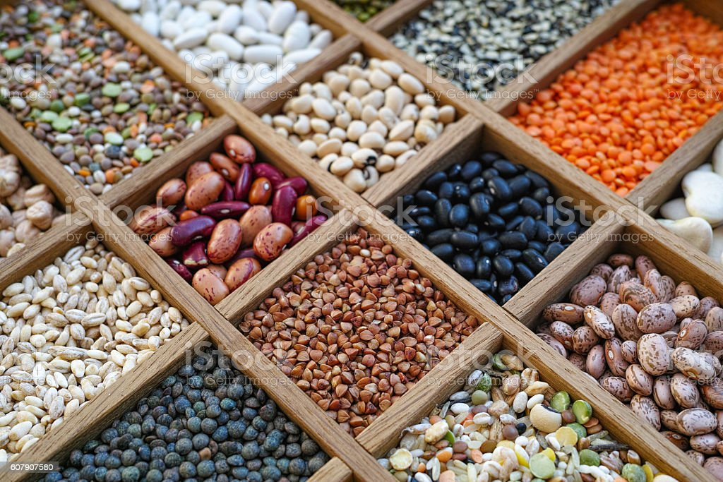 Background collection assorted of lentils, beans, peas, grain, groats stock photo
