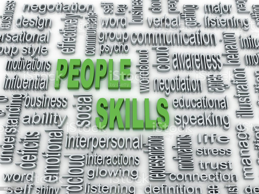 background concept wordcloud illustration of people skills stock photo