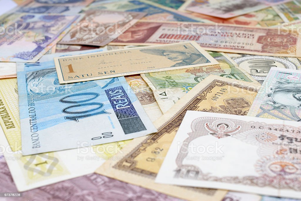 Background consisting of currencies from around the world royalty-free stock photo