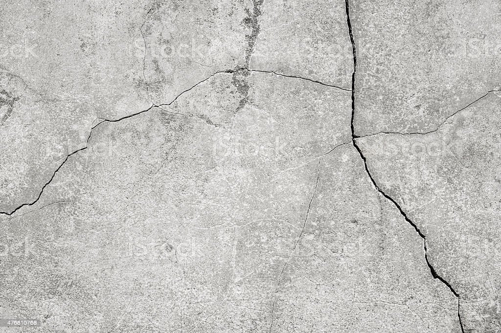 Background: cracked concrete wall close-up stock photo