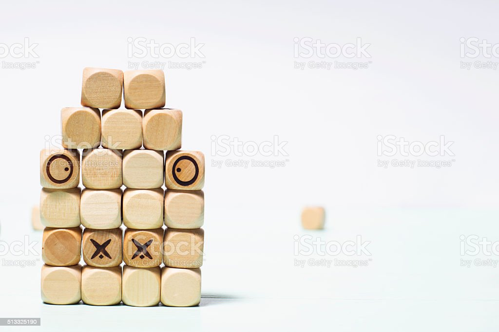 Background cubes.Small wooden cubes. stock photo