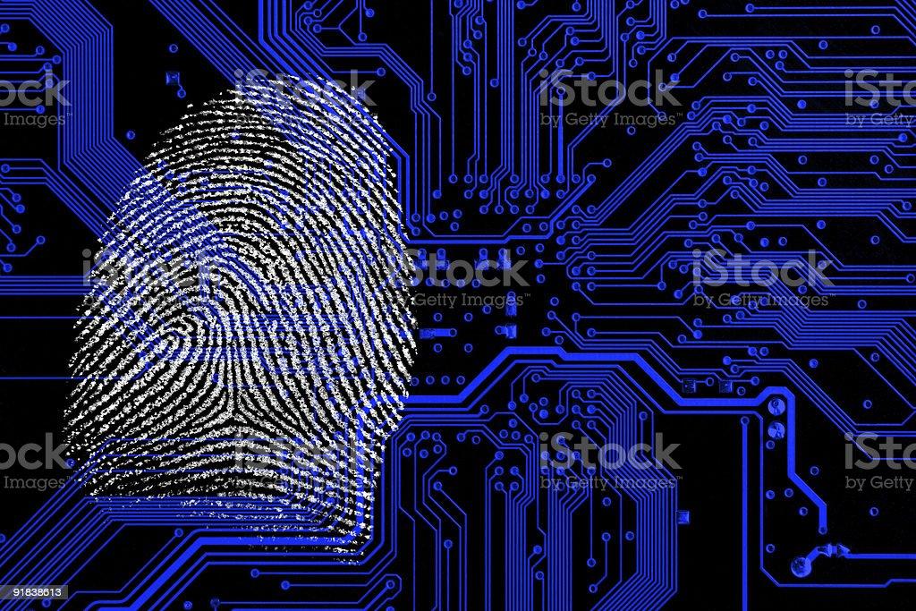 Background design of fingerprint on blueprint royalty-free stock photo