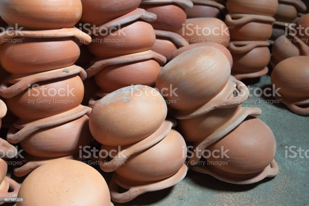 Background earthenware place on floor stock photo