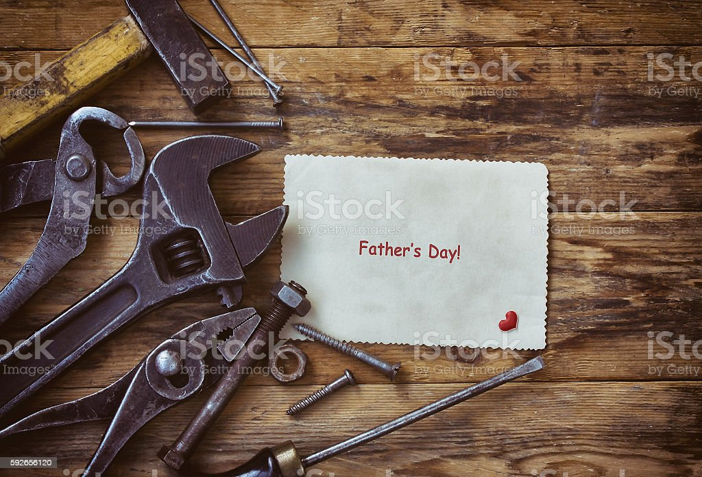 background father's day, old tools, paper card stock photo