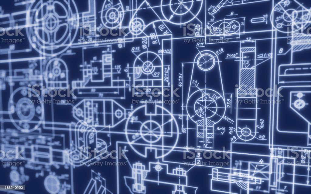 Background featuring industrial machine blueprints stock photo