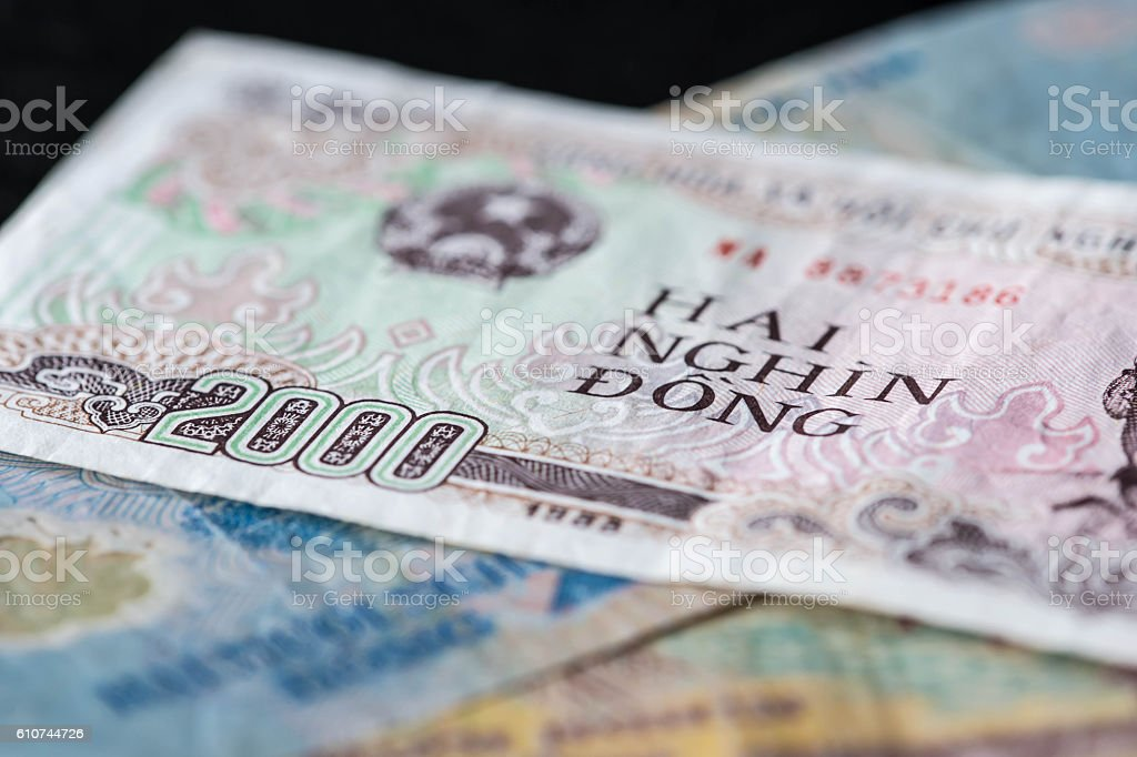 Background from banknotes. Vietnamese Dong stock photo