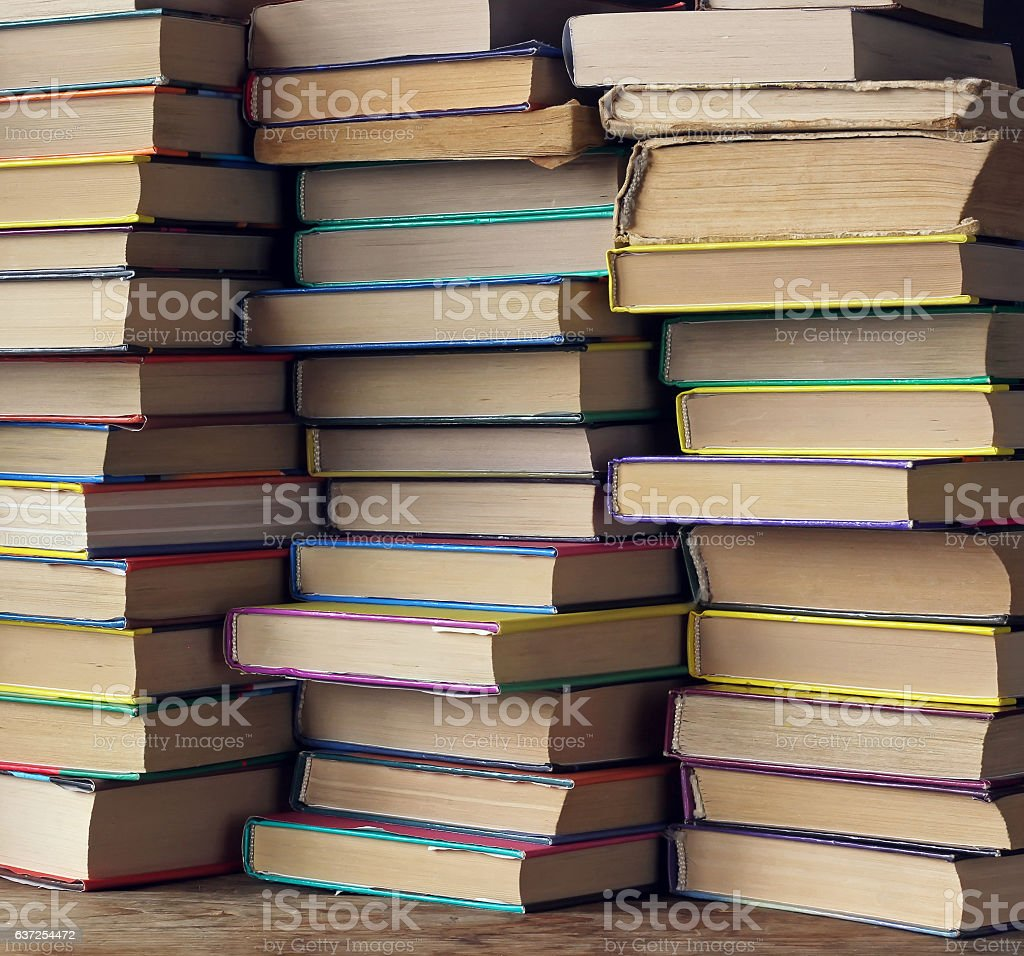 Background from books. Back to school. Library. stock photo