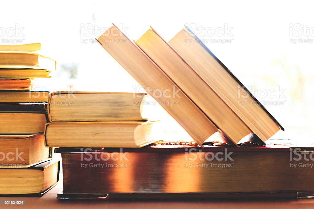 Background from books. Books close up. stock photo