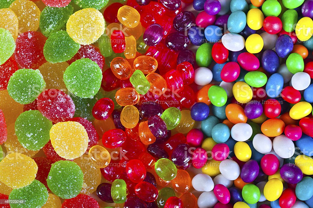 background from colorful sweets of sugar candies stock photo
