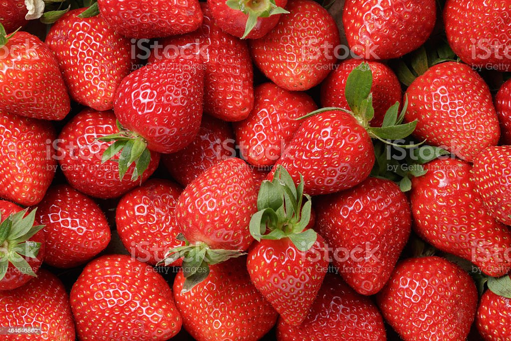 background from freshly harvested strawberries stock photo