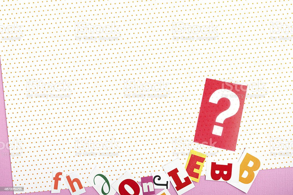 background from magazine letters and question mark royalty-free stock photo