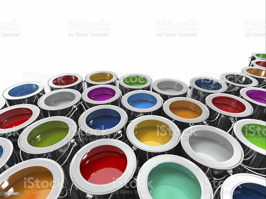 Background from multi color cans of paint. royalty-free stock photo