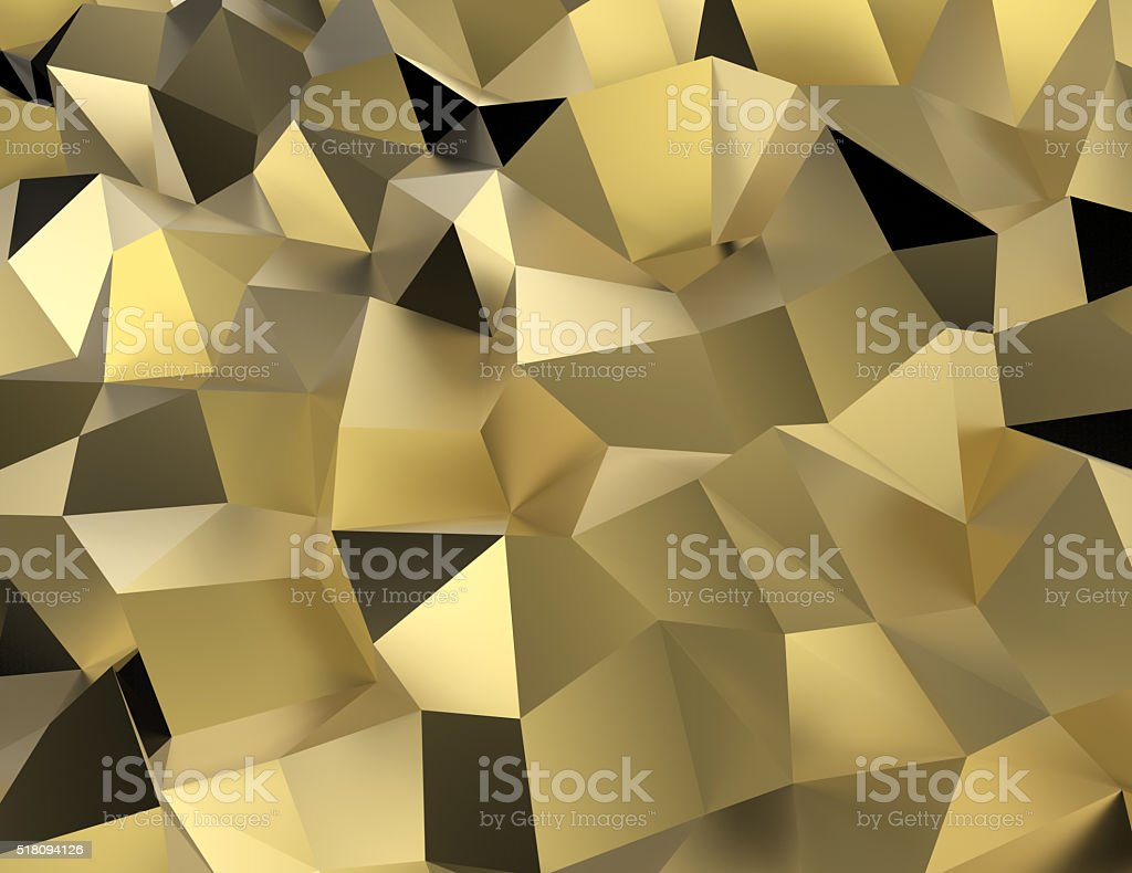 background golden low poly shape. stock photo
