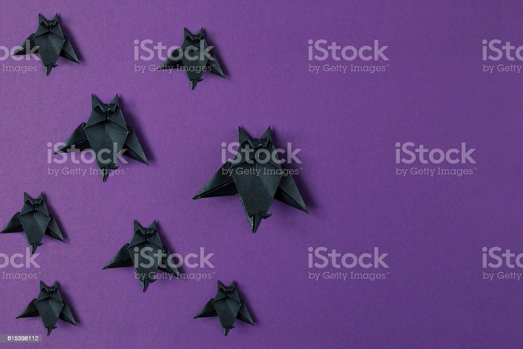 Background. Halloween origami bats. Top view with copy space stock photo