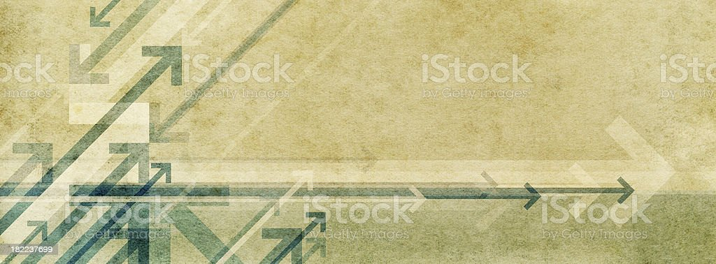 Background image featuring arrows on a marbled paper texture stock photo