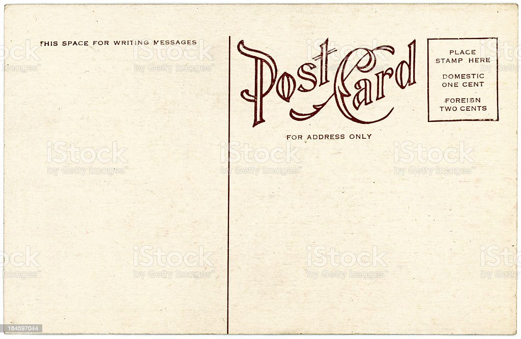 Background image of a blank beige vintage back of a postcard stock photo