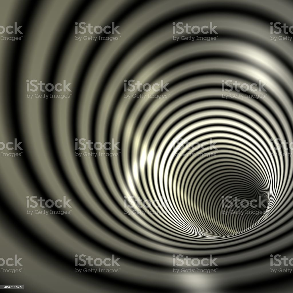 Background image of black and gray swirling tunnel stock photo