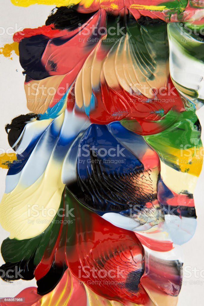 Background image of bright oil-paint palette closeup. stock photo