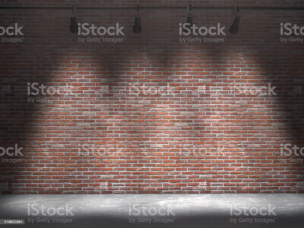 Background image of dark wall with light spot.3d rendering. stock photo