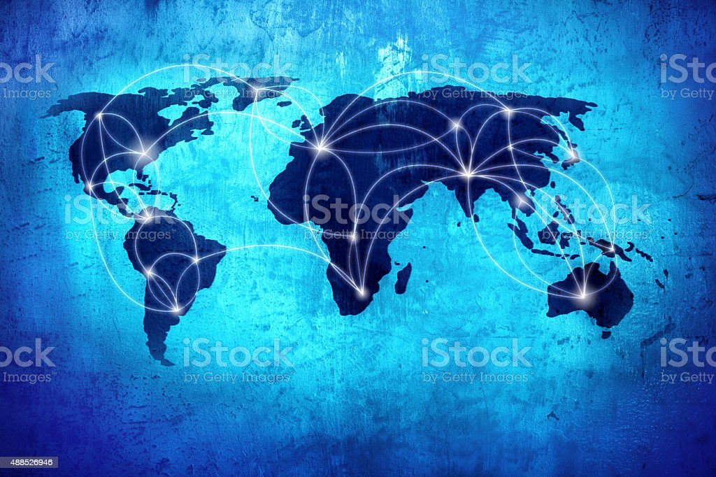 Background image with world map and connection lines stock photo