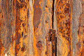 Background iron panels covered in rust