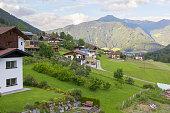 background landscape Alpine village in Austria