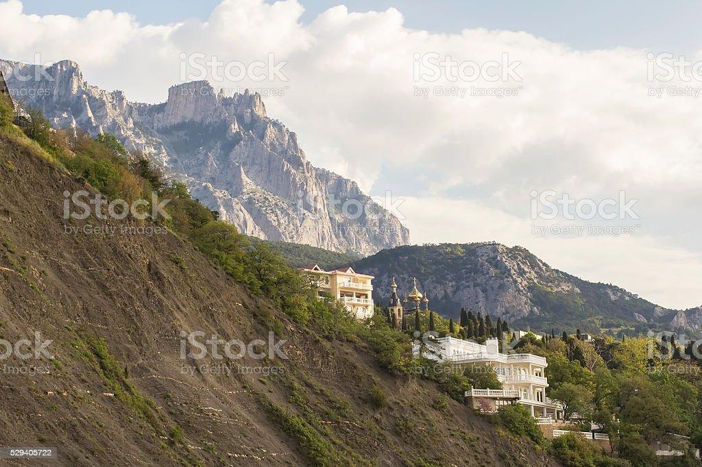 background landscape churches and  mountain Ai-Petri stock photo
