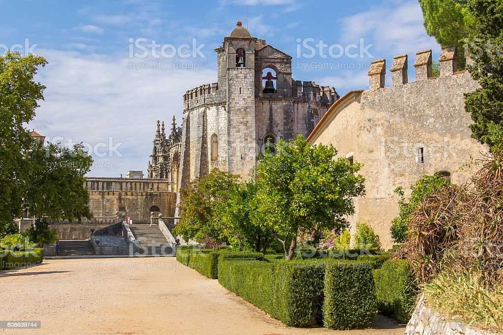 background landscape Templars monastery in Tomar, Portugal stock photo