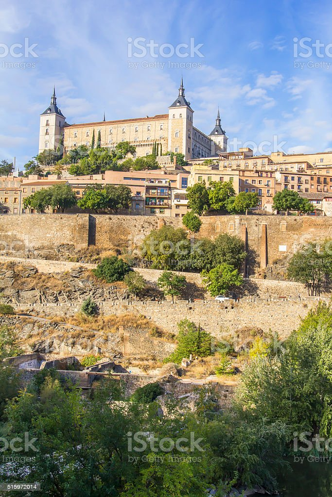 background landscape view of the walls of Toledo and Alcazar stock photo